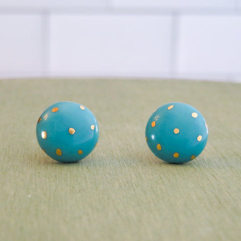 Circle Polka Dot Gold Earrings