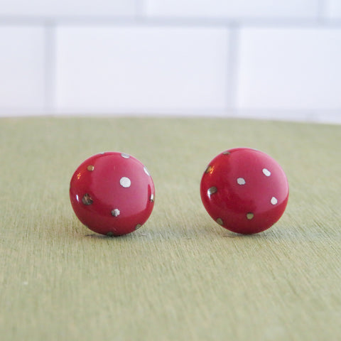 Circle Polka Dot Silver Earrings