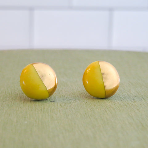 Circle Half Dipped Gold Earrings