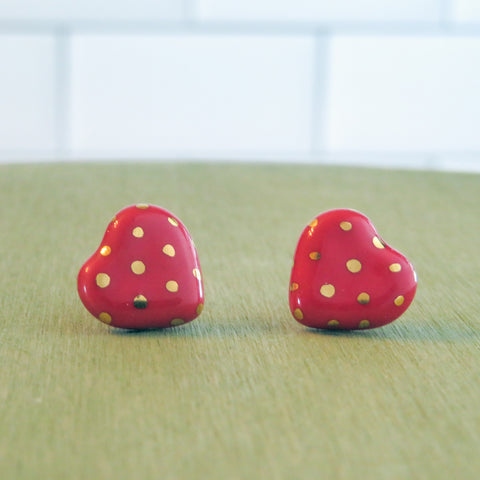 Heart Gold Polka Dots Earrings