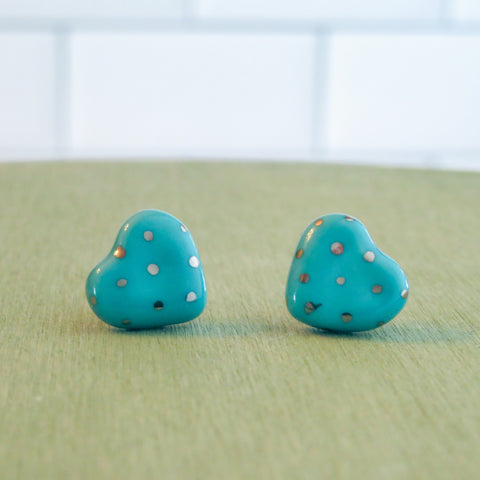 Heart Silver Polka Dots Earrings