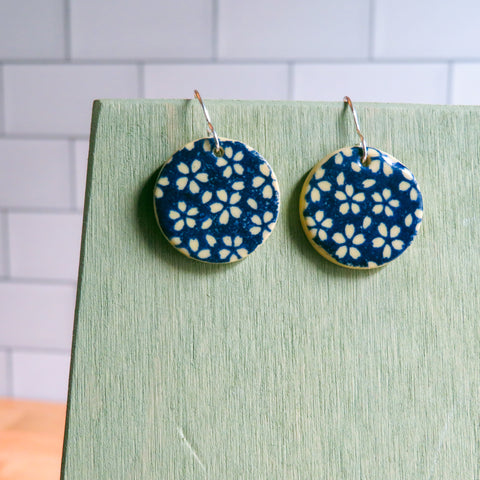 Blue Floral Meadow Earrings on Beige Clay