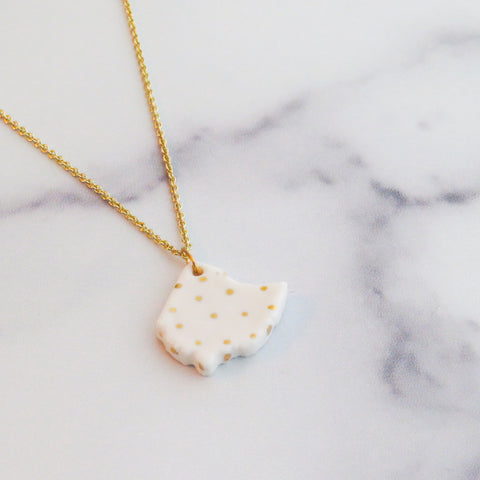 Ohio Large Polka Dot Gold Necklace