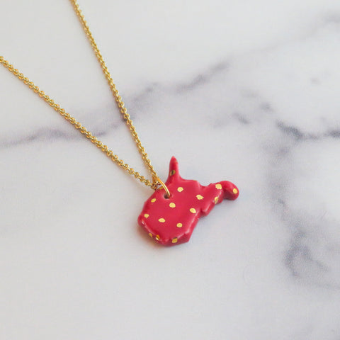 Large West Virginia Gold Polka Dot Necklace