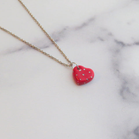 Heart Silver Polka Dot Necklace
