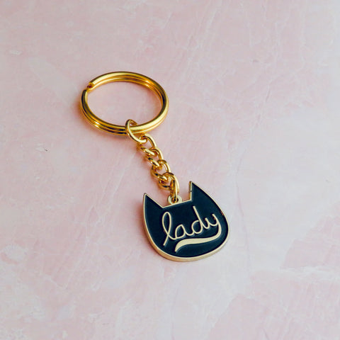 Copy of Enamel Cat Lady Keychain