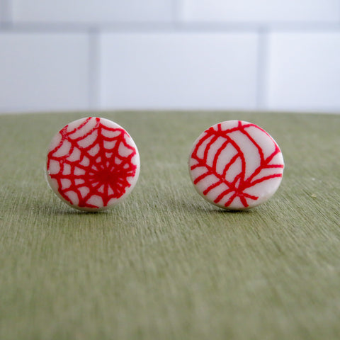 Spider Web Stud Earrings in Red and White