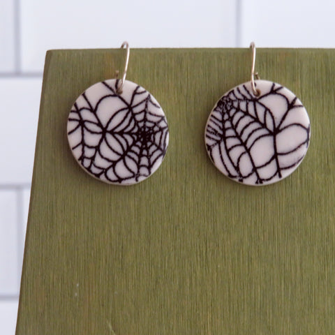 Spider Web Earrings in Black and White