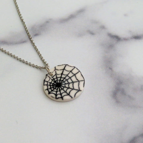 Spider Web Necklace in Black and White
