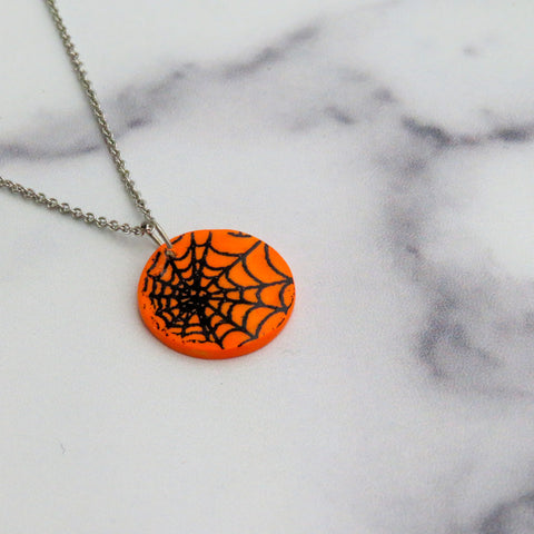 Spider Web Necklace in Black and Orange