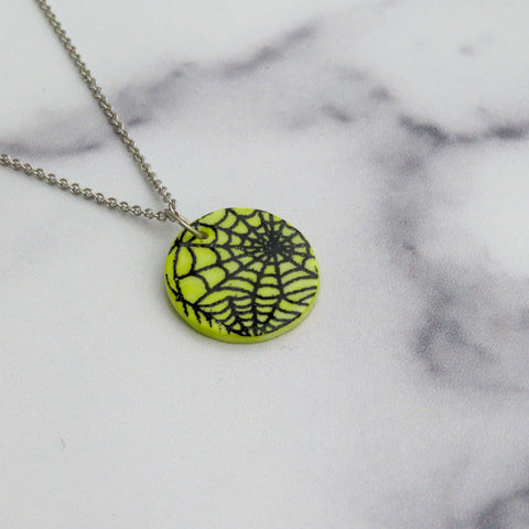 Spider Web Necklace in Black and Green
