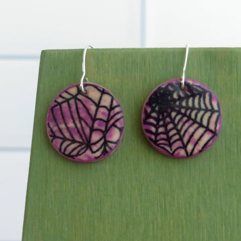Spider Web Earrings in Smokey Purple and Black