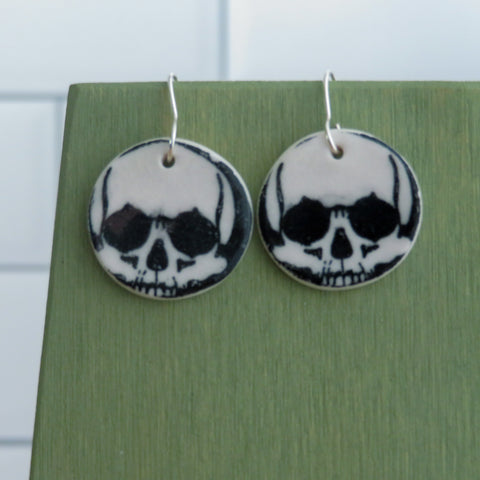 Skull Earrings in Black and White