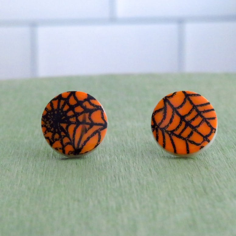 Spider Web Stud Earrings in Orange and Black