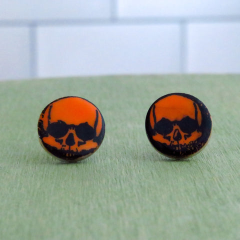 Skull Stud Earrings in Orange and Black