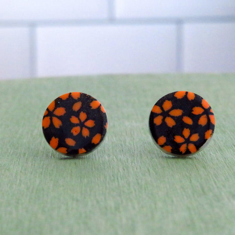 Floral Meadow Stud Earrings in Orange and Black
