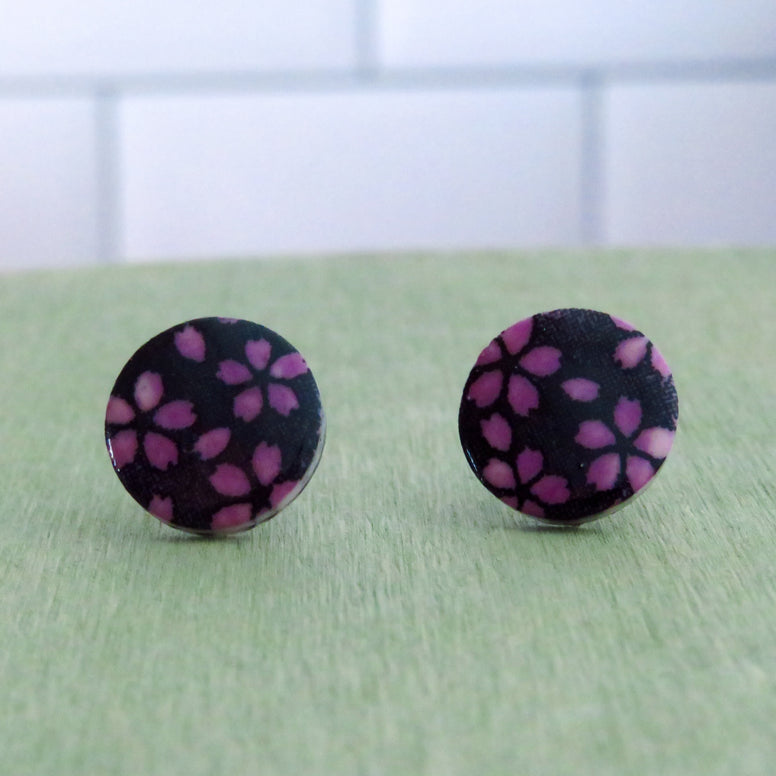 Floral Meadow Stud Earrings in Smokey Purple and Black