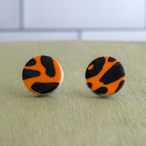 Leopard Print Stud Earrings in Black and Orange