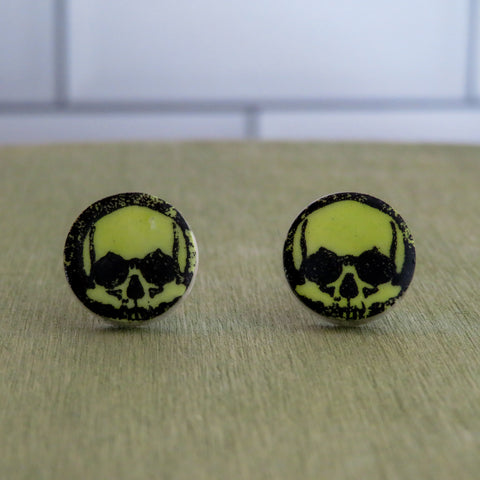 Skull Stud Earrings in Neon Green