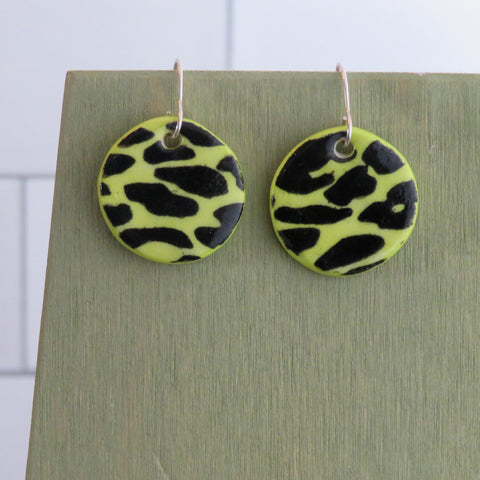 Black Leopard Print Earrings in Neon Green