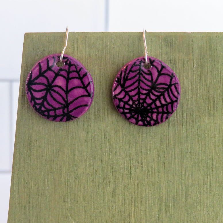 Spider Web Earrings in Black and Deeper Purple