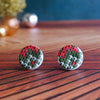 Holiday Knits Studs in Red and Green