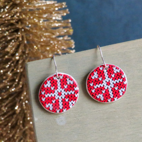Holiday Knits Dangle Earrings in Snowflake