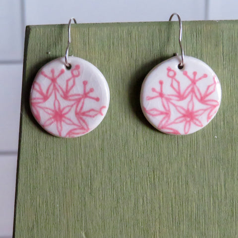Pink Snowflake Dangle Earrings