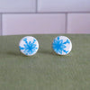 Blue Snowflake Stud Earrings