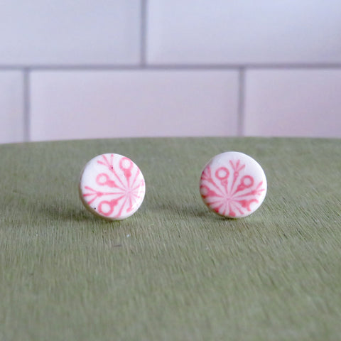 Pink Snowflake Stud Earrings