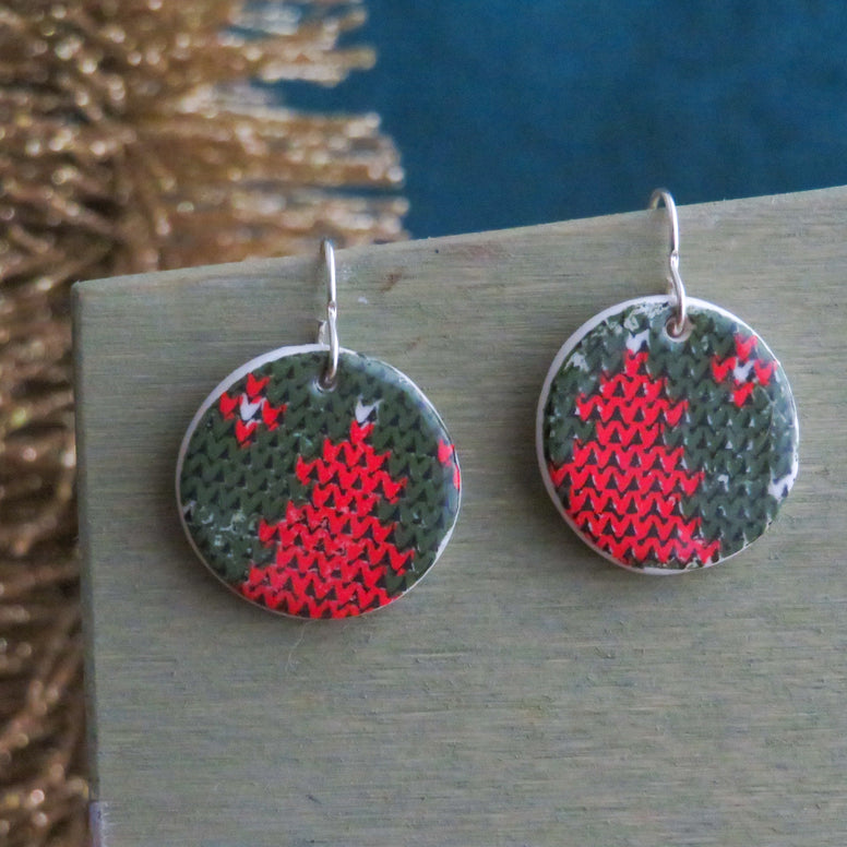 Holiday Knits Dangle Earrings in Trees