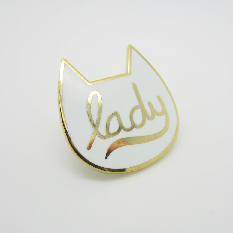 Gold Cat Lady Enamel Pin
