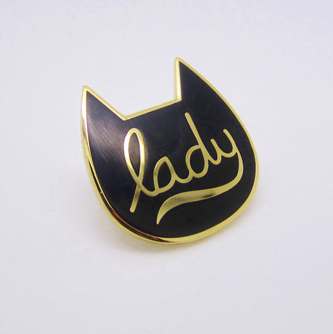 Gold and Black Cat Lady Enamel Pin