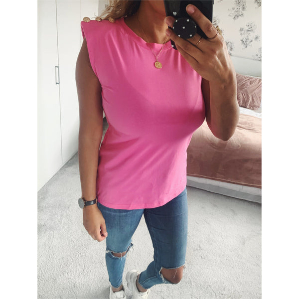 Pink Button T-shirt with Shoulder Pads