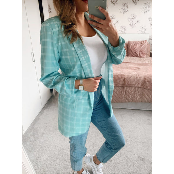 Mint Checked Blazer
