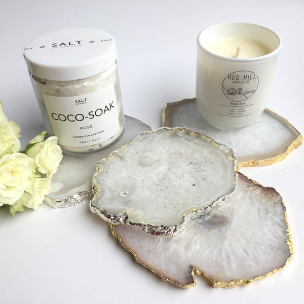 Natural White Salt Agate Coasters - Luxury Hampers