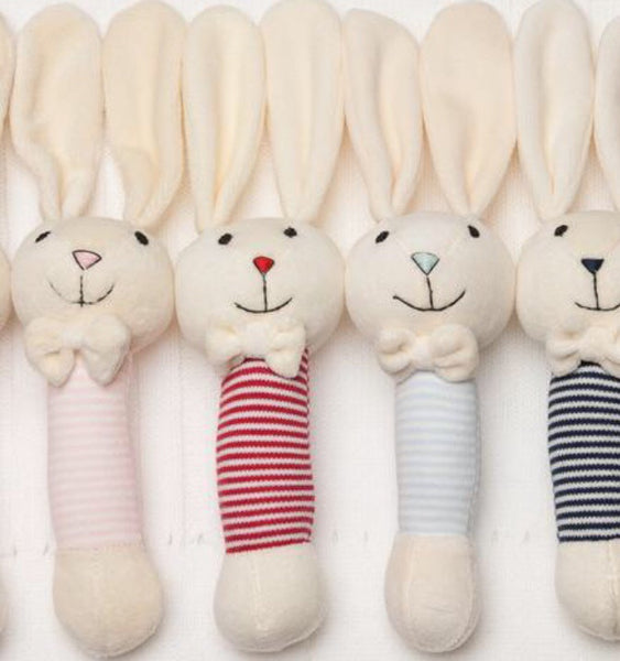 Red Stripe Bunny Rattle - Luxury Hampers
