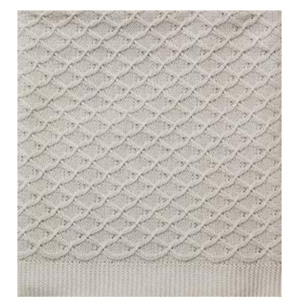 Grey Cotton Lace Blanket - Luxury Hampers