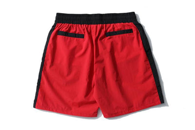 Red + Black Track Shorts