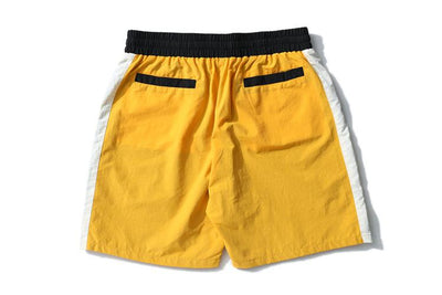 Yellow + White Track Shorts