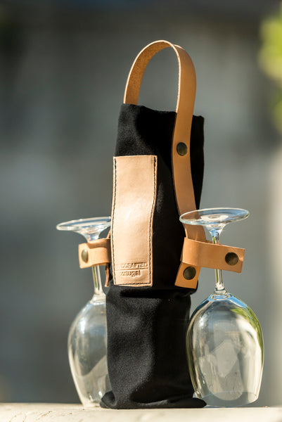 Cheers - Wine Tote Bag in Black