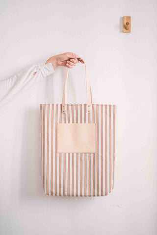 Maximini - Sophisticated Tote Bag in Cotton / Tricolor Stripes