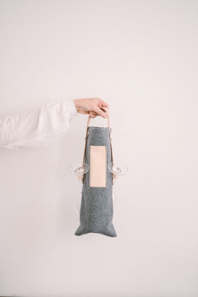 Cheers - Wine Tote Bag in Burel Summer Blue