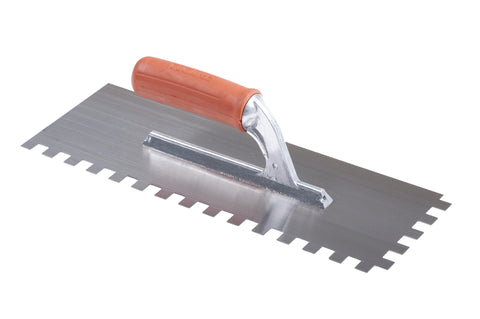Rubber Handle Notched Trowel  36x13cm 3-12mm (select option)