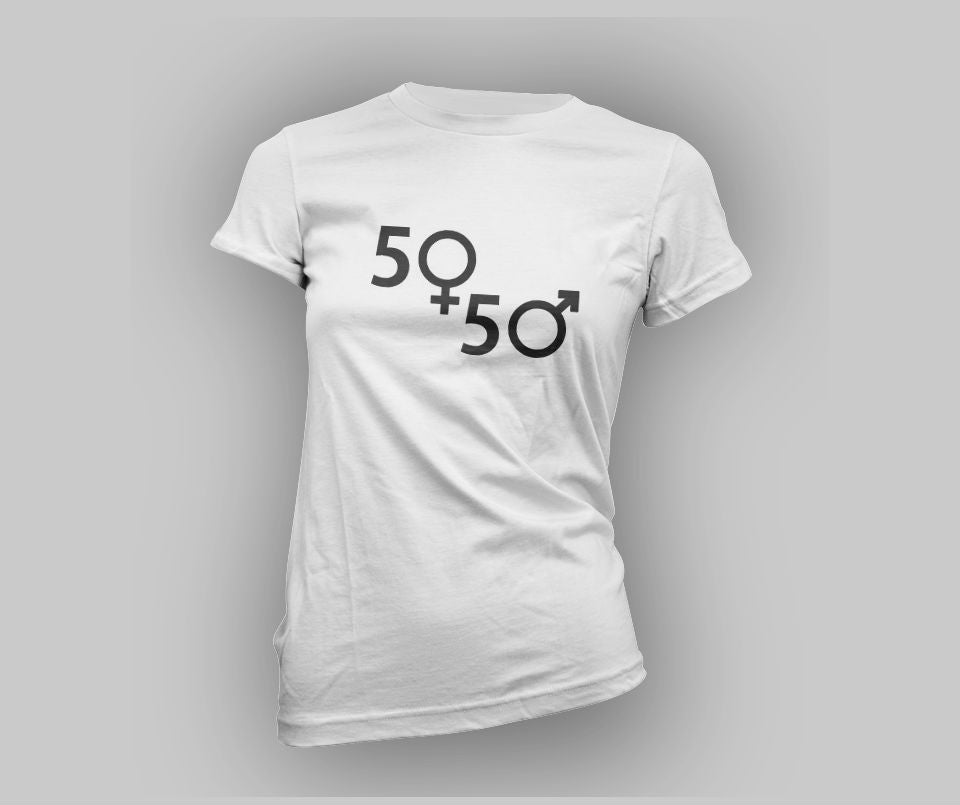 50/50 Gender symbols T-shirt - Urbantshirts.co.uk