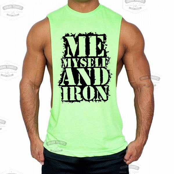 Me,myself and iron Low cut Vest - Urbantshirts.co.uk