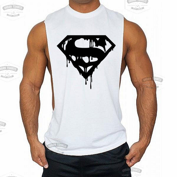 Dripping Superman Low cut Vest - Urbantshirts.co.uk