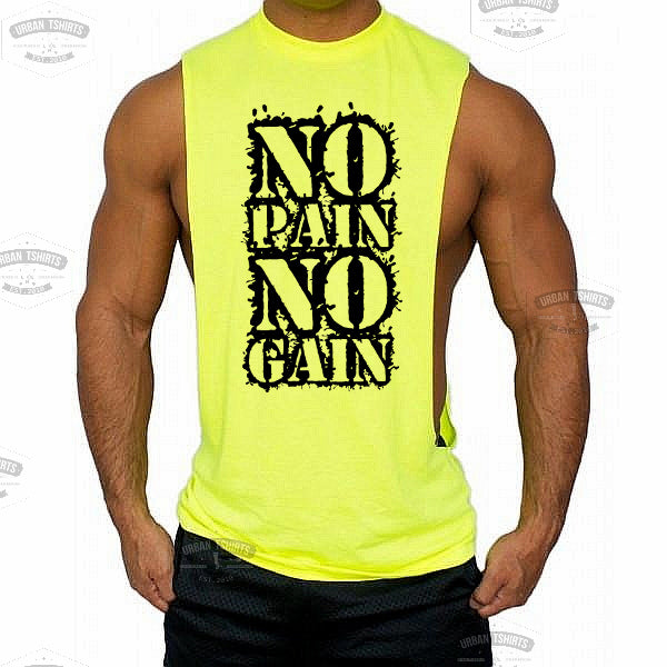 No pain no gain Low cut Vest - Urbantshirts.co.uk