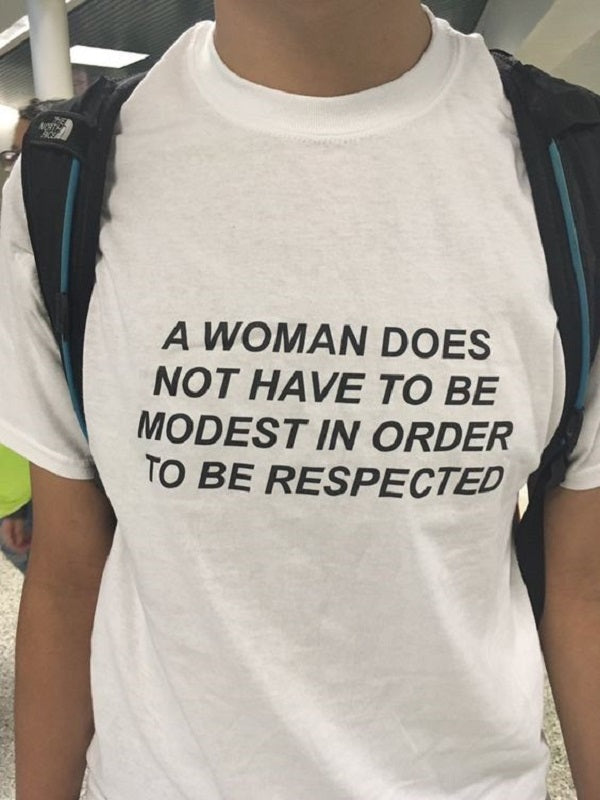 A Woman Does Not Have To Be Modest To Be Respected T-shirt - Urbantshirts.co.uk