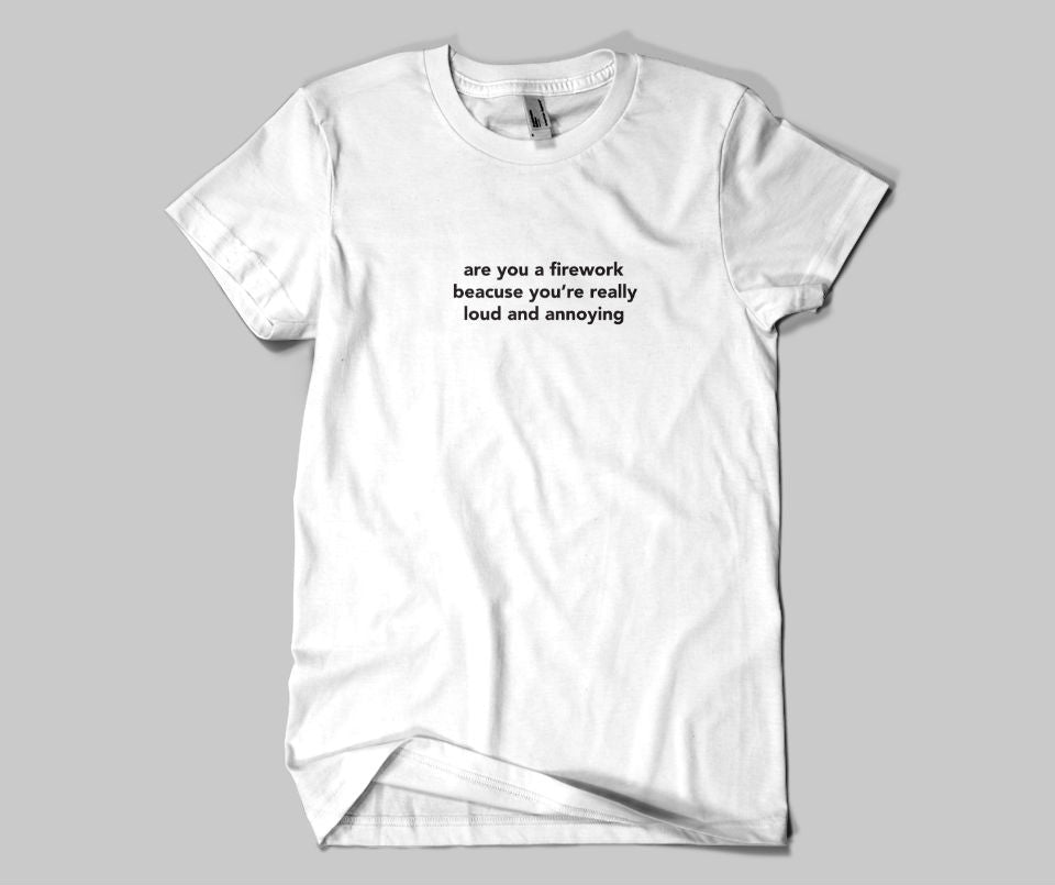 Are you a firework,because you're really loud and annoying T-shirt - Urbantshirts.co.uk
